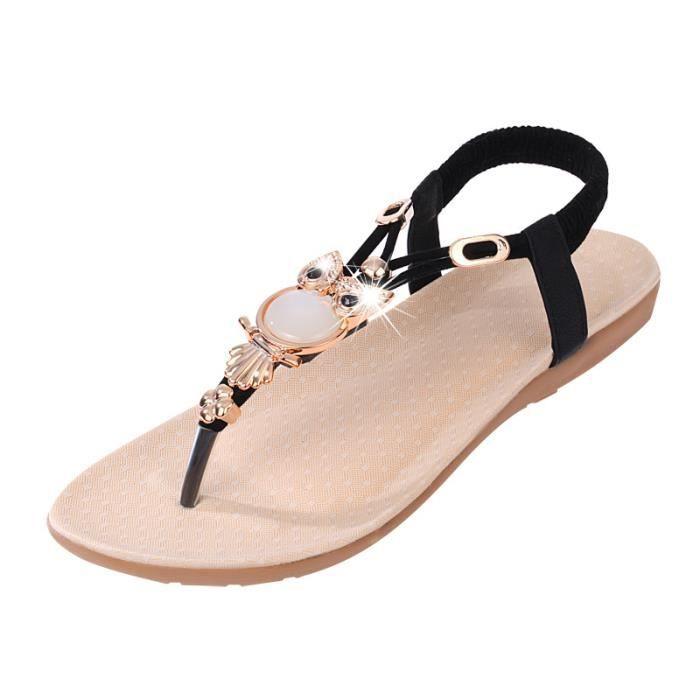 Sandales femme plat Nouveau mode t-Strap Lanière confortable antidérapant