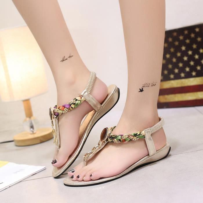 Chaussures femme Nouveau Femmes d'été romaine Chaussures talon plat Femmes confortable charme doux Bas Sandales femmes doux flip