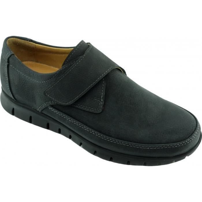 SERTA – Mocassin velcro largeur plus souple et flexible chaussures grande largeur confortable Homme pieds sensibles cuir noir