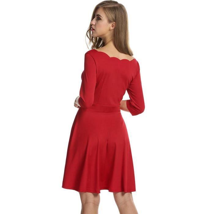 Femmes robe cou plissé manches 1/2 taille haute couleur pure