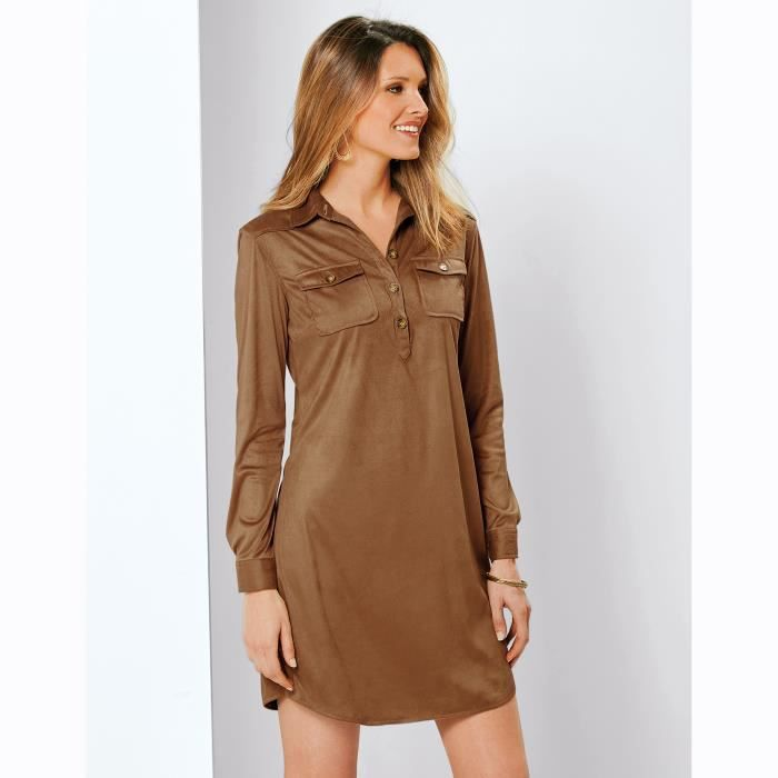 Courte Col Robe Longues Marron Femme Achat Manches Chemise gwxZdf5xq