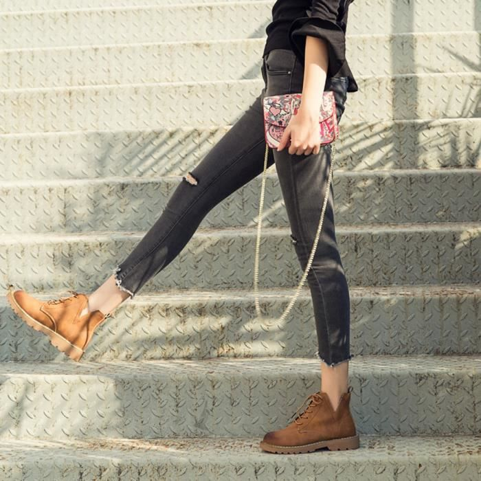 Bottes Casual En À Femmes Cuir Cheville Martin Marron Cheville Toe Faible rond Les Chaussures Plat fYpnx