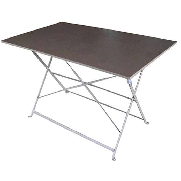 Table de jardin pliante en fer coloris gris tourterelle - Dim : H.72 x  L.100 x P.70 cm
