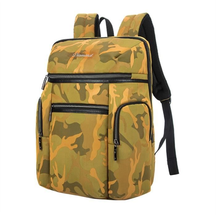 Hommes Femmes Sac à dos Casual, Camouflage jaune