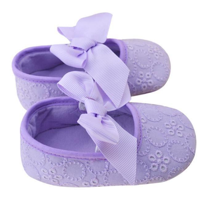 filles de coton ruban bowknot Soft Bottom fleur prémarcheur violet