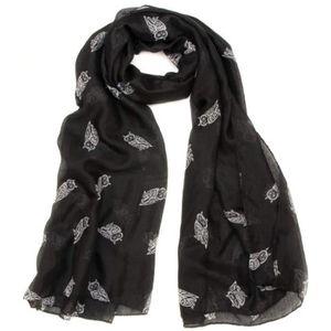 ECHARPE - FOULARD HIBOU CHOUETTE - grand foulard chèche écharpe - 6