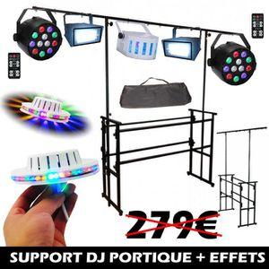 PACK LUMIÈRE SUPPORT DJ MOBILE + 6 JEUX DE LUMIERES PUISSANTS P
