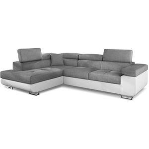 45d5e00ddac Canapé d angle Antoni avec têtières relevables angle gauche simili Blanc et  tissus Gris clair