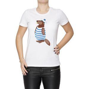 f9b26a344e4b5 T-SHIRT Tee-shirt - Castor Marin Femme Cou D équipage Blan