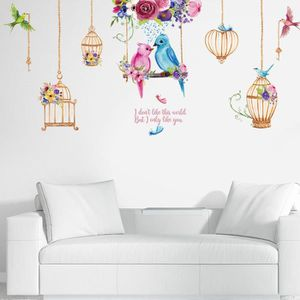 MEUBLE RANGE BOUTEILLE bodhi Fashion Birdcage Bird Flower Wall Sticker Ac