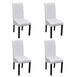 chaise set de 4 chaises de salle manger blanches en cui