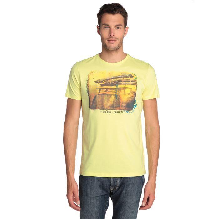 triplix t shirt homme jaune achat vente t shirt cdiscount. Black Bedroom Furniture Sets. Home Design Ideas