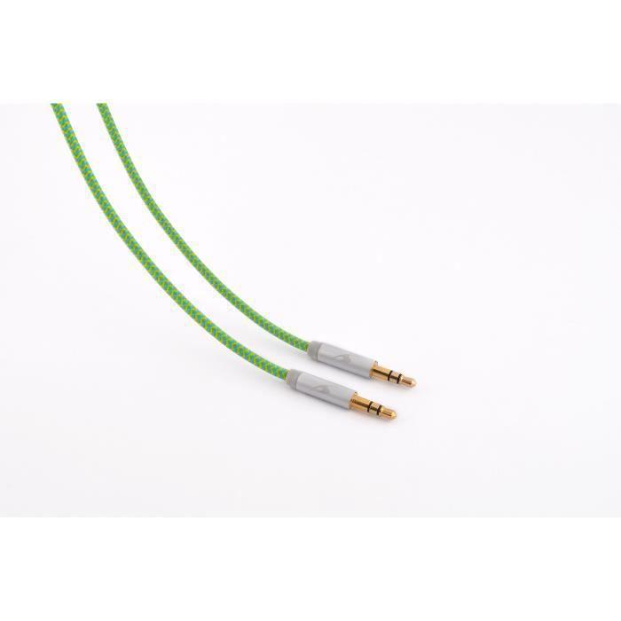 BLUESTORK TRENDY-AUX-F Câble Jack TRENDY AUX 3.5 mm vers AUX jack 3.5 mm - Vert