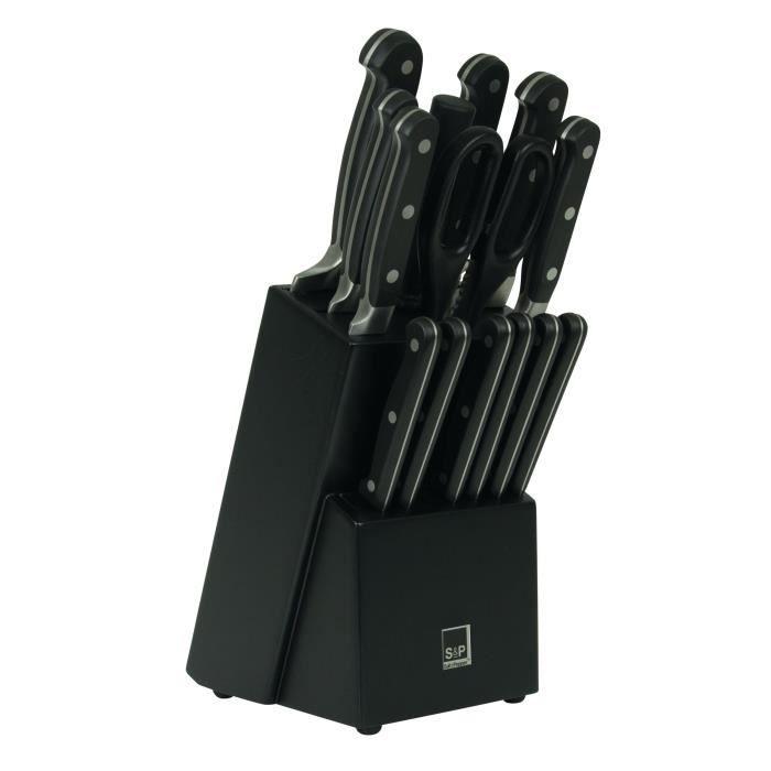 SP Bloc couteau Blade - 15 pièces - Noir