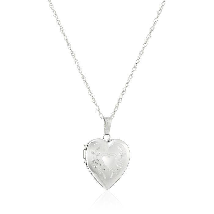 14k White Gold Engraved Heart Locket, 18 I7P23