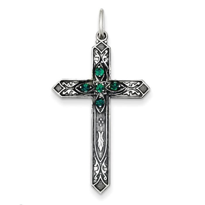 Synthèse Argent Sterling mai Birthstone Breloque Croix
