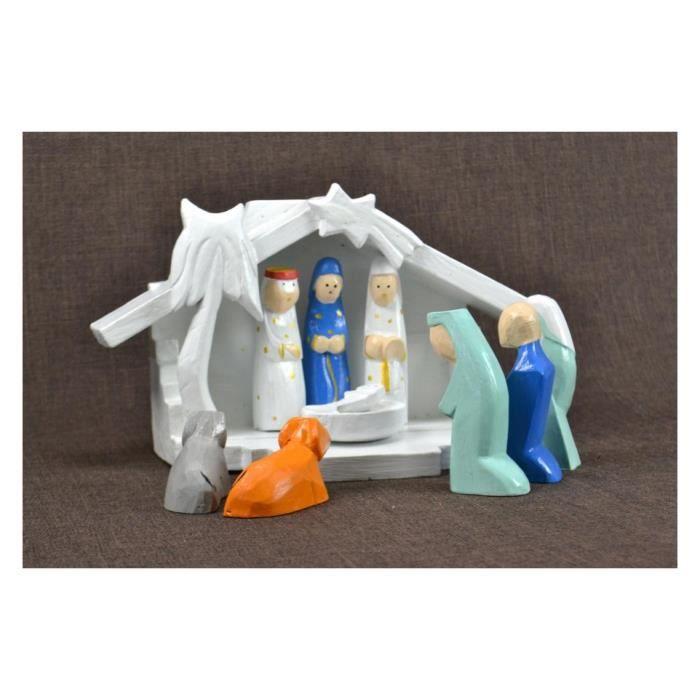 Crèche de Noël en bois et 9 santons couleurs. Déco de Noël fait main ...