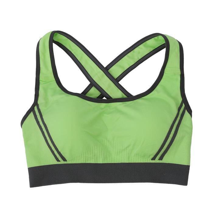 512e7ccbc9ba9 Gilet de soutien-gorge sexy de sport sans couture,Gilet de soutien-gorge de  yoga,de fitness, de sommeil pour les femmes - vert M