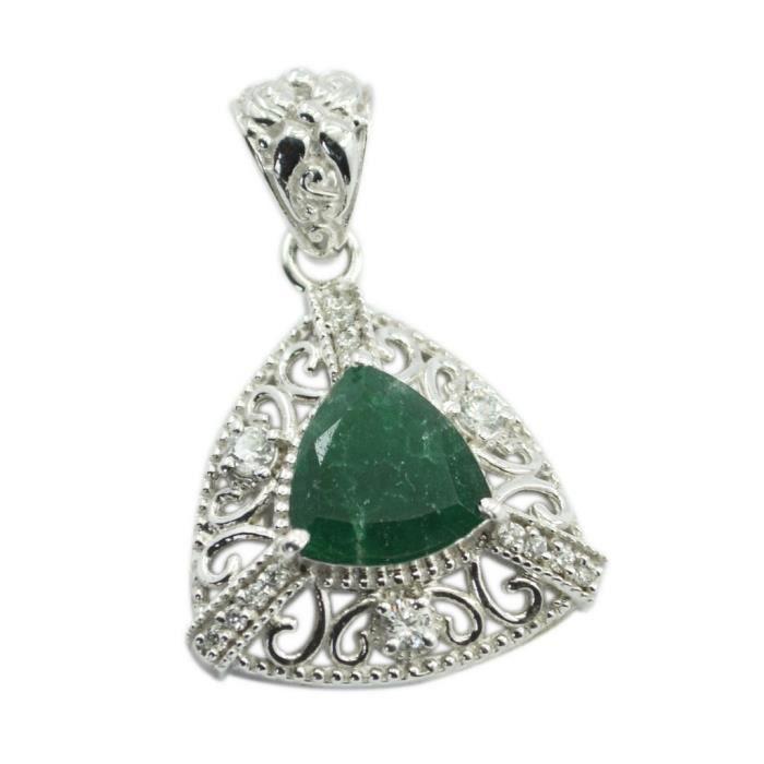 Indian Emerald Pendentif - Pendentif - Pendentif vert - vert pendentif en argent