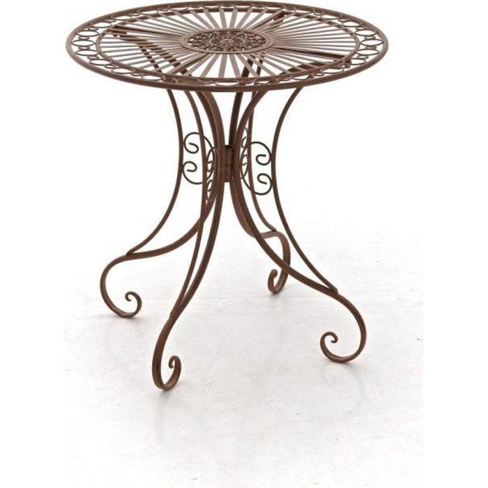 CLP Gracieuse Table de jardin en fer forgé HARI, au style nostalgique,  diamètre Ø 70 cm, 6 couleurs au choix73 cm - marron antiqu...