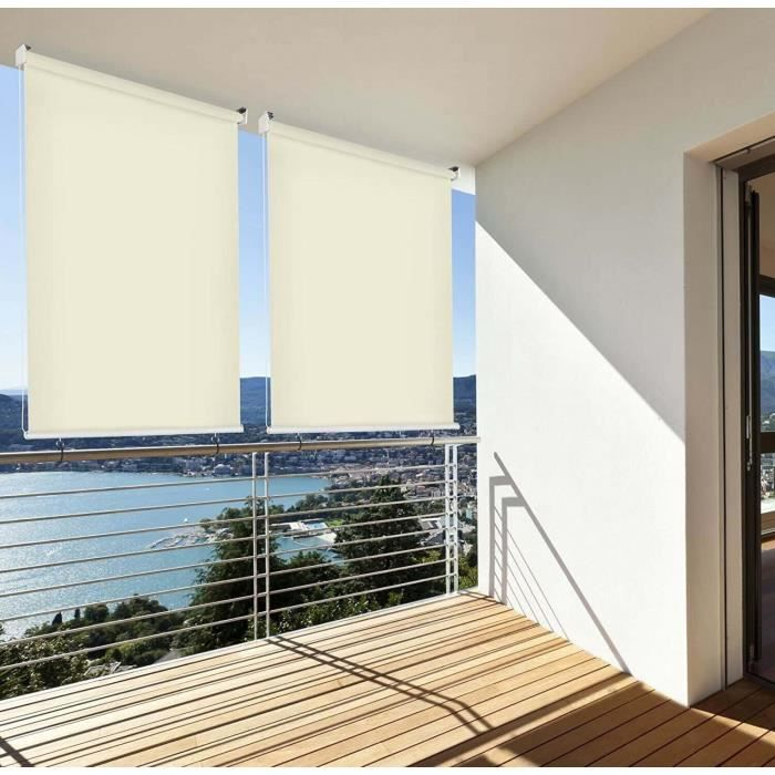 Brise Vue Rétractable Vertical Pour Balcon Beige L100 X H230 Cm