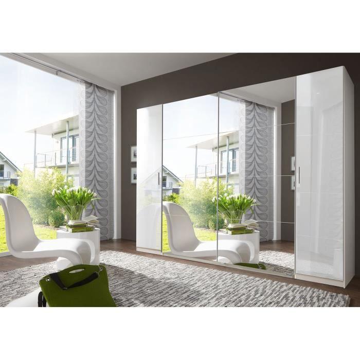 Armoire adulte design 4 portes avec miroir coloris blanc laqué ...