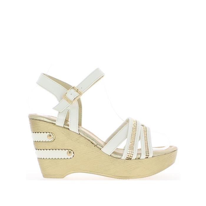 Sandales compensées blanches à t… IaXtWgKw