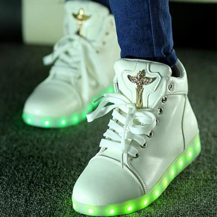 Ange Croix Basket Montantes 7 Couleurs LED Chaussures Lumineux BlancUnisexe Homme Femme Sneakers Gifts USB Chargeable CGEZJMopi