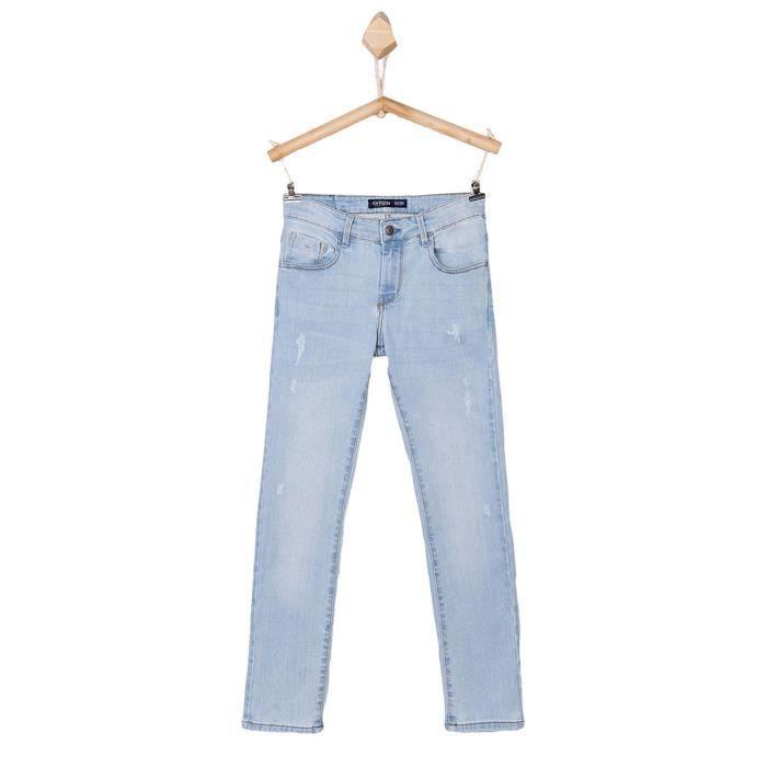 cf81fb126b84a Jeans TIFFOSI coupe slim - pour garçon enfant et ado - bleu clair délavé  bleach - coton stretch - du 8 au 14 ans