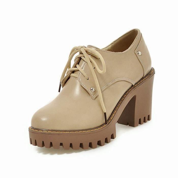 Chaussures Femme élégante Lacets Plateforme En PU Cuir Toutes les pointures de la 35 à la 43 BsfsubSM
