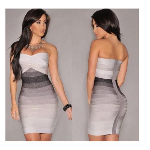 les femmes bandage robes courtes été occasionnels bodycon nouveau bustier sans manches soirée élégante Party Club mini robe