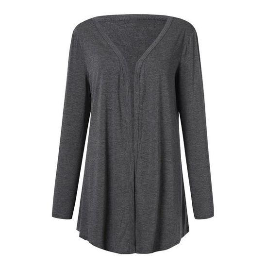 Femmes Foncé Plus gris Fit Longues Manches Outwear Casual Manteau Avant Color Ouvert Size Pure rOnwrxR