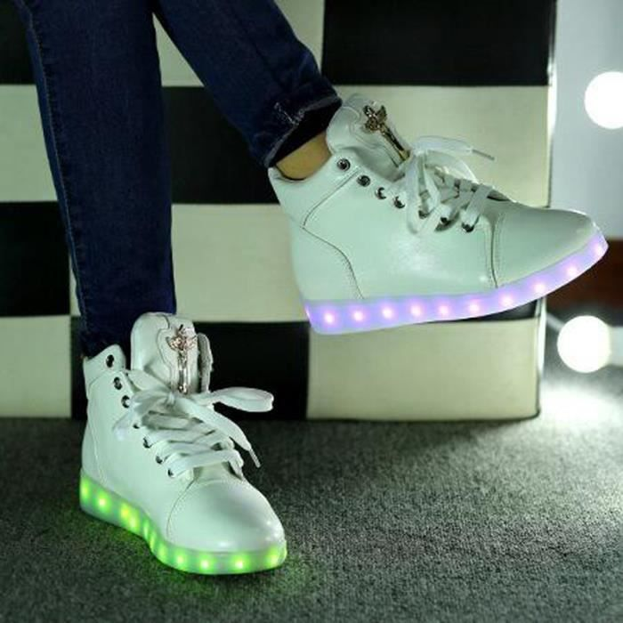 Ange Croix Basket Montantes 7 Couleurs LED Chaussures Lumineux BlancUnisexe Homme Femme Sneakers Gifts USB Chargeable