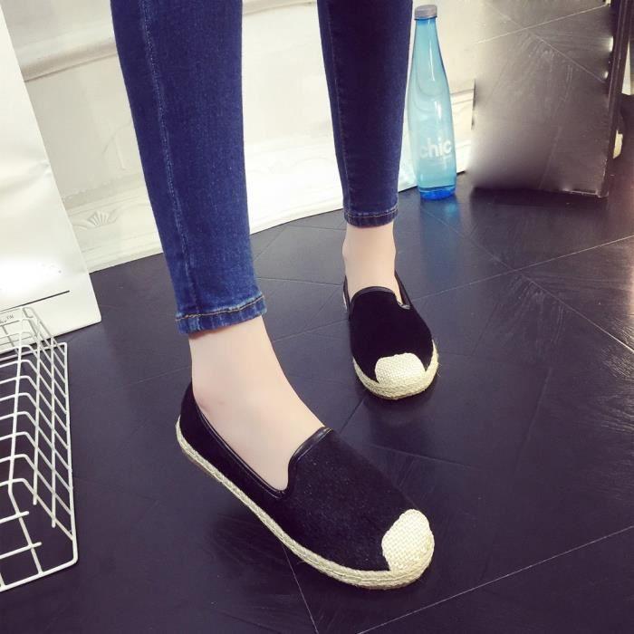 Mode Slip Appartement Espadrilles Femmes D'été Chaussures on De 38 Noir Vacances Sandales ZnwSTndqp