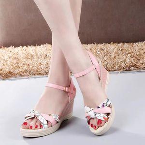 Mesdames Femmes Wedges Chaussures d'été Sandales Platform Toe chaussures à talons hauts @LMH80104553WH 6qcuvDeM