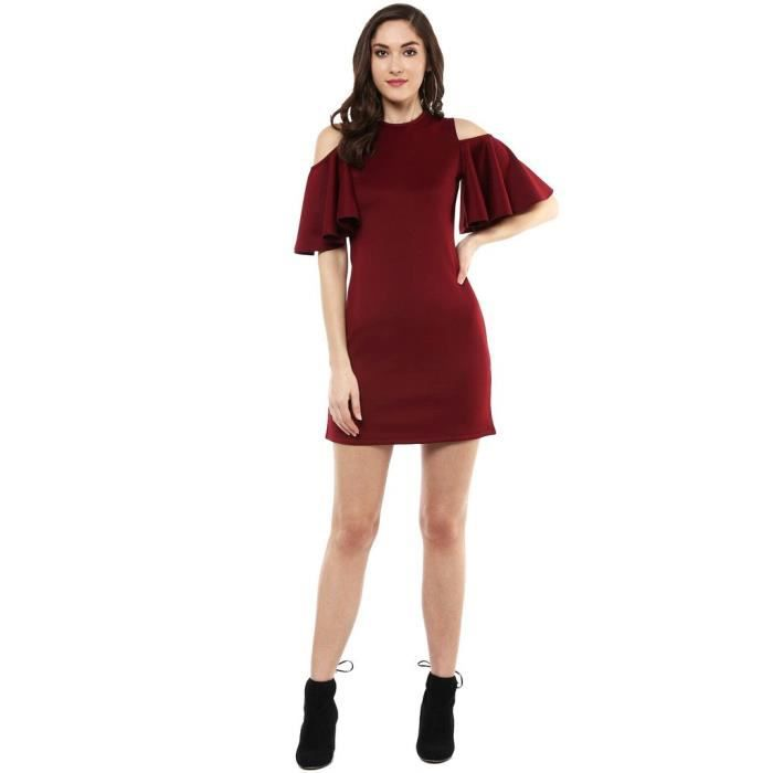 Womens Maroon Cold Shoulder Scuba Dress 1IGCPI Taille-34