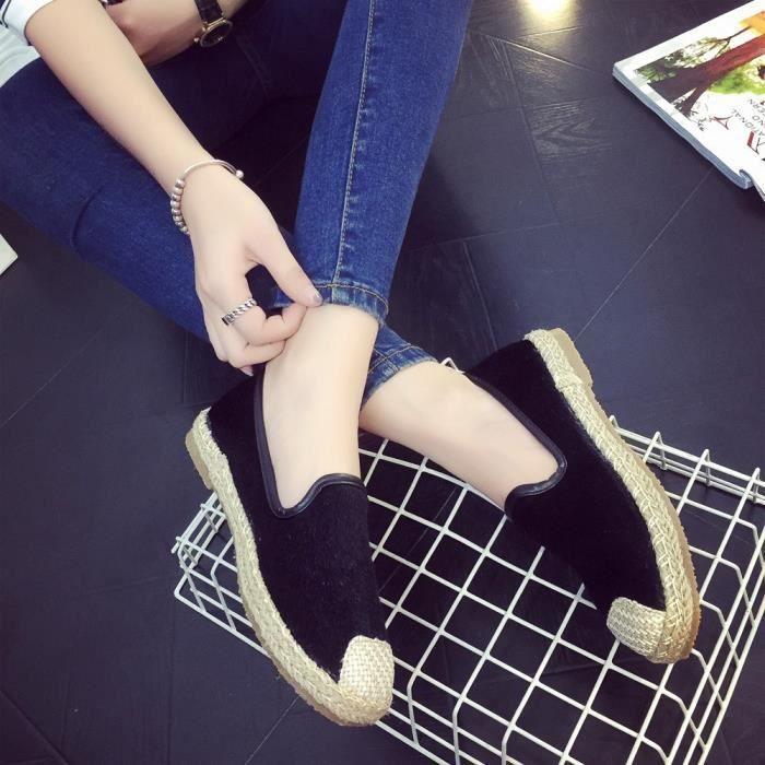 on Mode Chaussures Sandales D'été Appartement Noir De Espadrilles 38 Vacances Femmes Slip 4O8xgqw