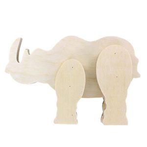 LA FOURMI Figurine Rhinocéros en bois 15,5x12,5x,3,4cm