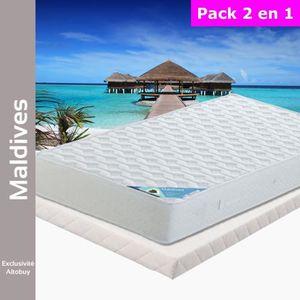ENSEMBLE LITERIE Maldives - Pack Matelas + Tapissier 90x200