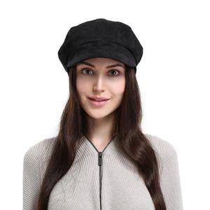 CASQUETTE EOZY Béret Casquette Femme Chapeau Octogonal Noir