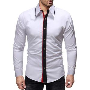 716ee33fc39fc3 CHEMISE - CHEMISETTE Casual Hommes Automne Hiver Patchwork Slim Fit hab ...