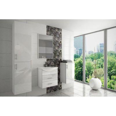 Salle de bain complète moderne blanc laqué