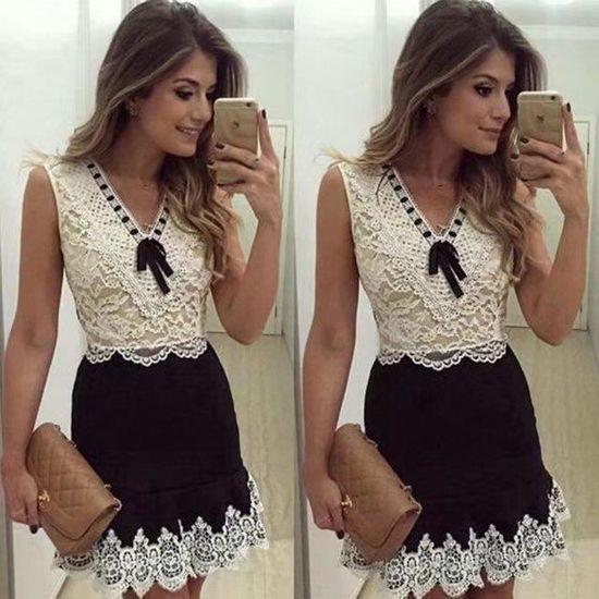 a29009decc7 Soldes Taille Manches Grande Grosses Vêtement D été Robe Court Bow Dentelle  Femme Désign Mode européen ...