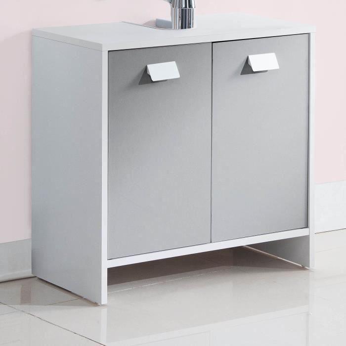 Panneaux de particules gris et blanc - L 60 x P 29,5 x H 56 cm - 2 portes , 1 étagère.MEUBLE SOUS VASQUE - MEUBLE VASQUE INTEGREE - PLAN DE TOILETTE