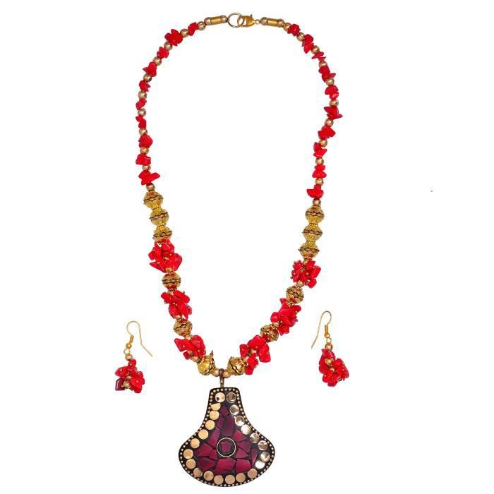 Womens Jewelery Set With Glass Beads & Red Golden Stonerk Brass Pendant; Unique Traditional Wear D J1CYP