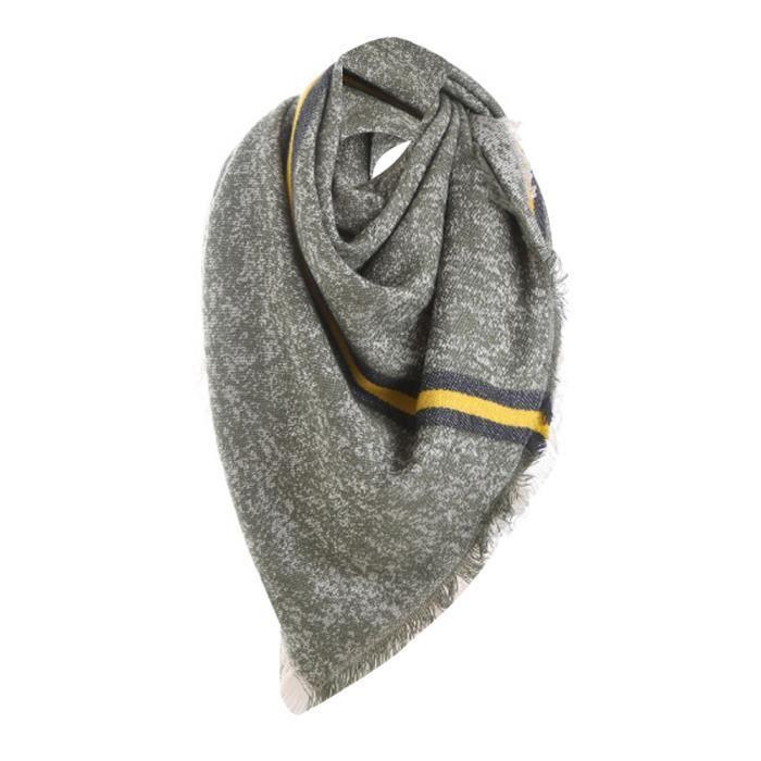 Foulard solide à rayures en laine et point longue à carreaux cou Vert 9b322f10e63