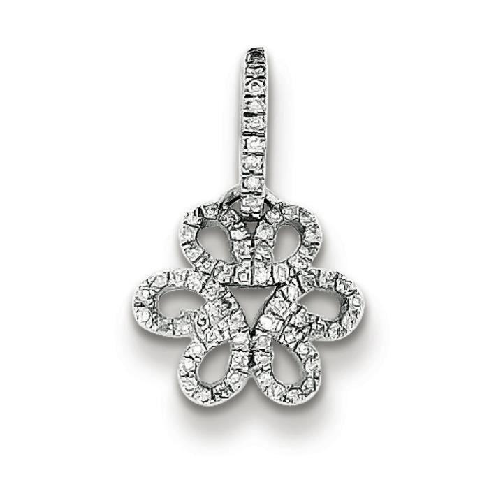 Argent Sterling diamant pendentif fleur