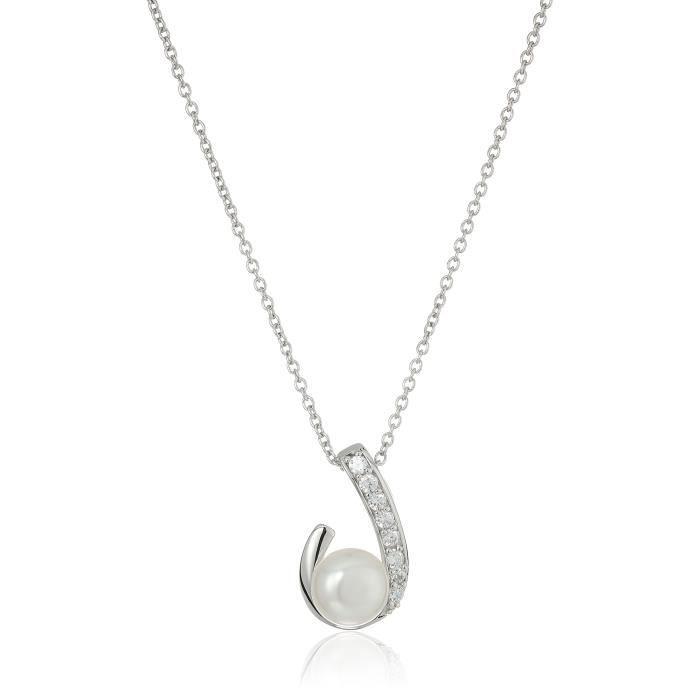 Jewel Panda Platinum-plaqué Ster. Argent Swarovski Freshwater Cultured Pearl Necklace En
