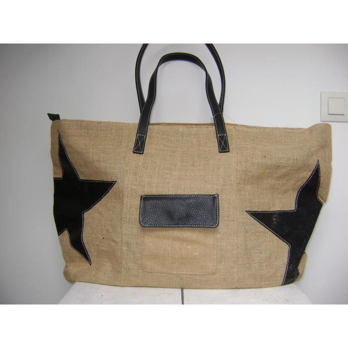 sac cabas le voyage en panier toile de jute etoiles achat vente sac cabas le voyage en. Black Bedroom Furniture Sets. Home Design Ideas