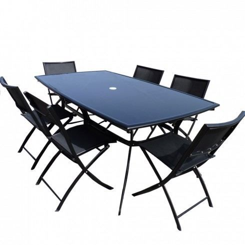 salon de jardin table aluminium 6 chaises noir achat. Black Bedroom Furniture Sets. Home Design Ideas